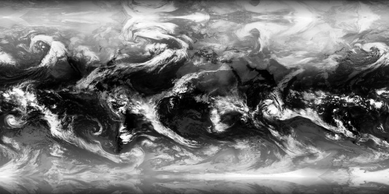 A cloud map, created 21 Jan 2016, 01:00 GMT. Source: XplanetClouds