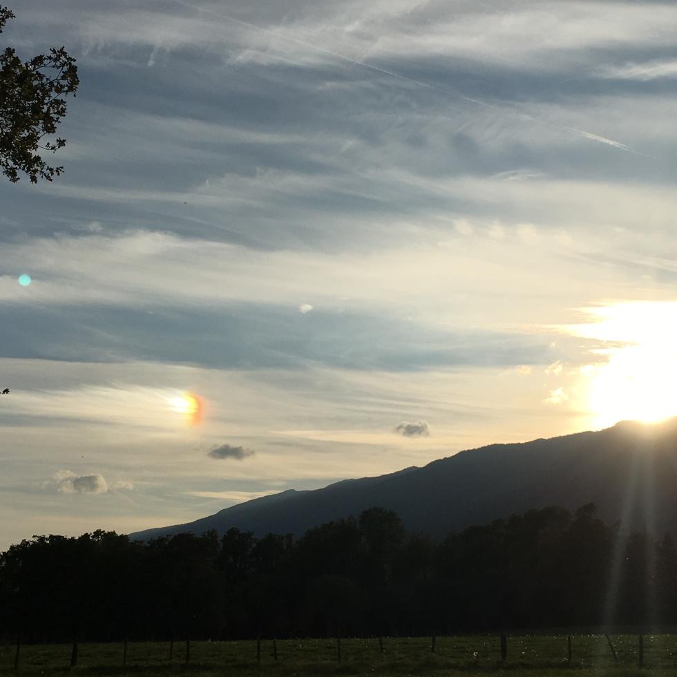 rainbow peaceful sunset
